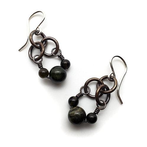 Small Charm Earrings, Tourmaline, Jasper