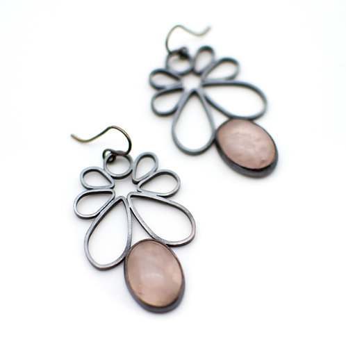 Rose Quartz Cherry Blossom Earrings
