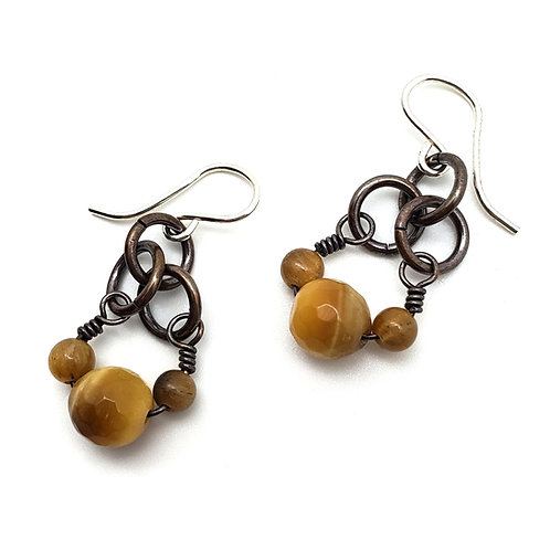 Small Charm Earrings, Tiger's Eye