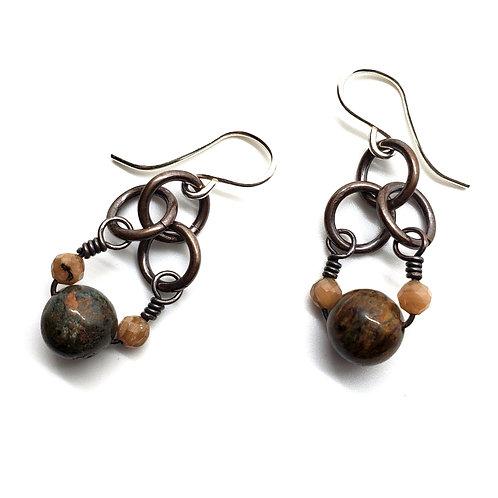 Small Charm Earrings, African Opal, Rhodochrosite