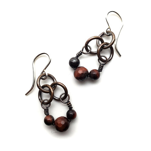 Small Charm Earrings, Red Tiger's Eye