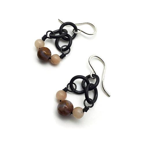 Small Charm Earrings, Flame Agate