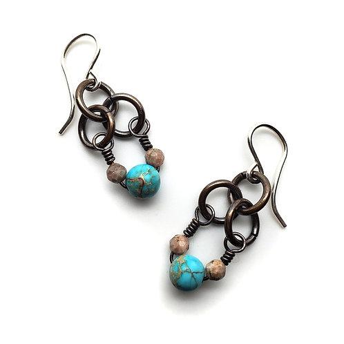 Small Charm Earrings, Jasper, Rhodochrosite