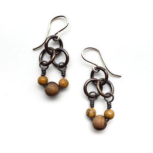 Small Charm Earrings, Jasper