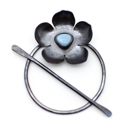 Blue Opal Flower Circle/Stick Pin