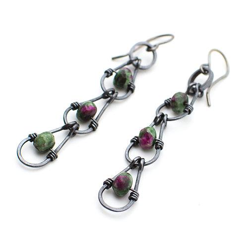 Ruby Zoisite Chain Earrings