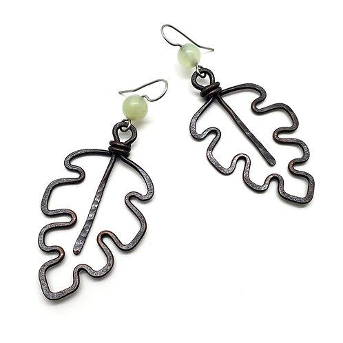 Jade Oak Leaf Earrings