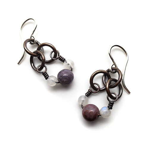 Small Charm Earrings, Flame Agate, Moonstone