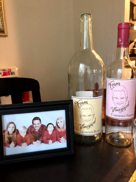 Evan Evans family photo and wine bottles made in Photoshop