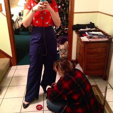 I made pants. Featuring mom, who is help