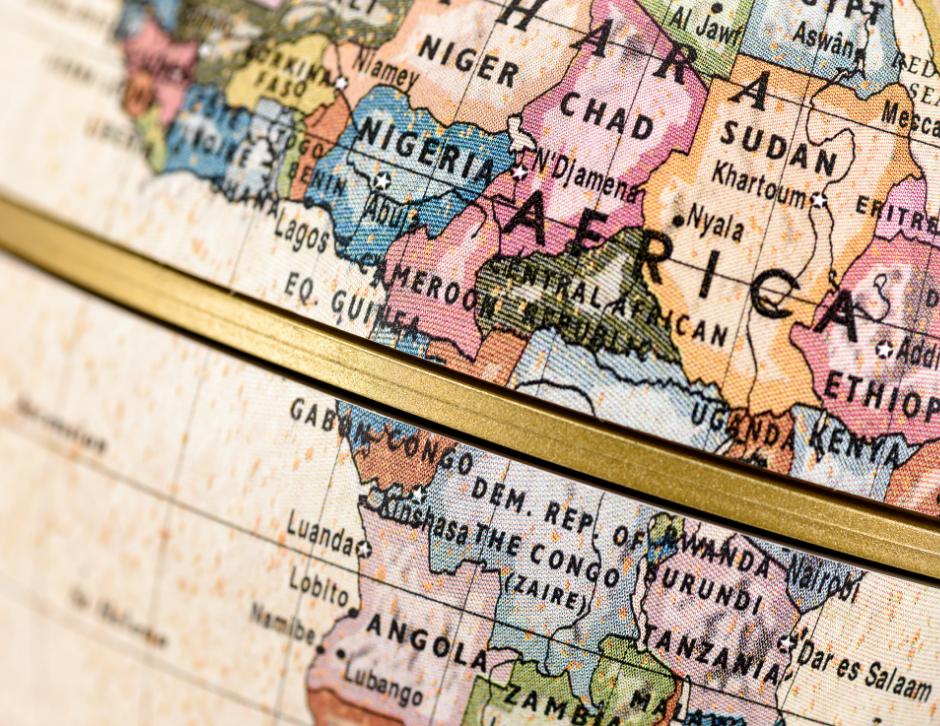 Globe representation of Africa