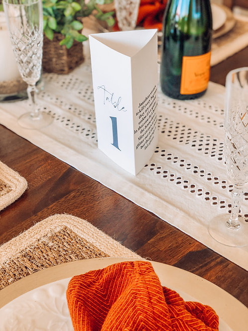 Tri-Fold Table Numbers