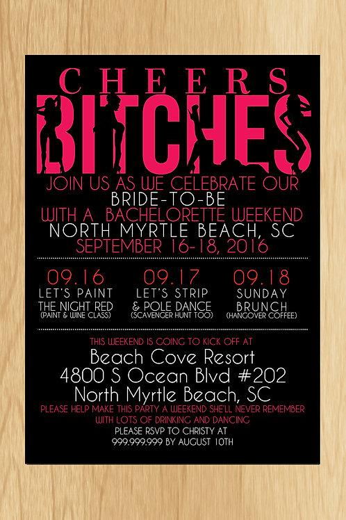 EDITABLE Cheers Bitches Party Invite