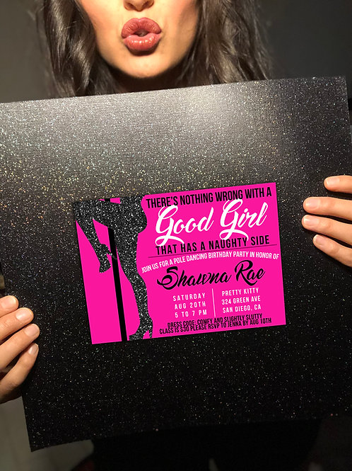 EDITABLE Good Girl Party Invite