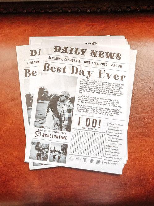 Newspaper Style Wedding Program