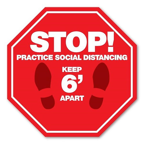 AFDS02 SOCIAL DISTANCING Adhesive Floor Decal w/ Full Color Imprint