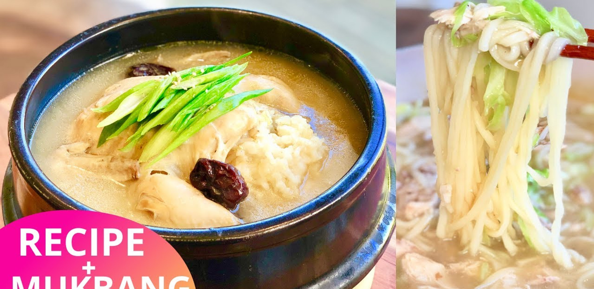 Korean Chicken Soup + Noodle Soup Recipe & Mukbang (Ginseng Chicken Soup); (SamGyeTang); (삼계탕 황금레시피); (Kalguksu);  (칼국수 황금레시피)