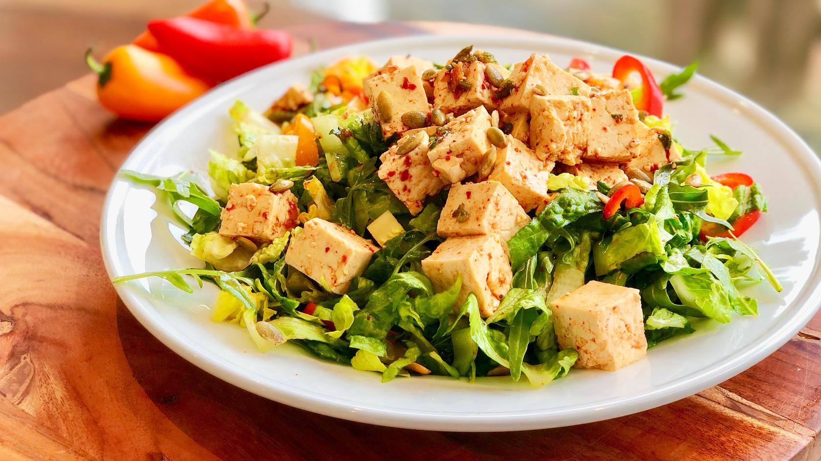 Tofu Salad With Soy Sauce Vinaigrette Dressing (두부 샐러드)