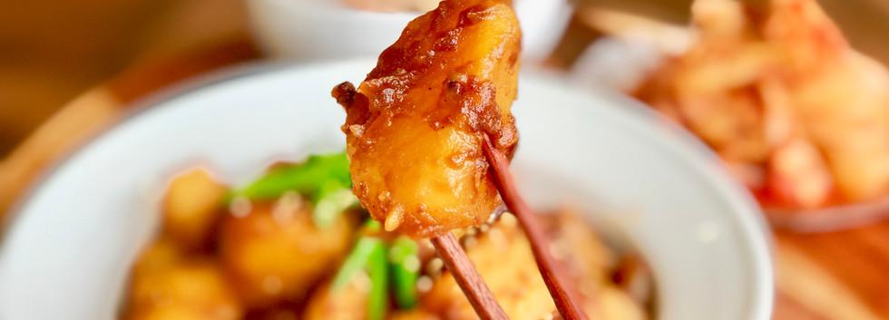 Korean Potato Side Dish/Banchan Recipe & Mukbang: Braised Potatoes 감자조림 Gamja-Jori GLUTEN-FREE
