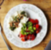 Buffalo Mozzarella. Baby Plum Tomatoes,
