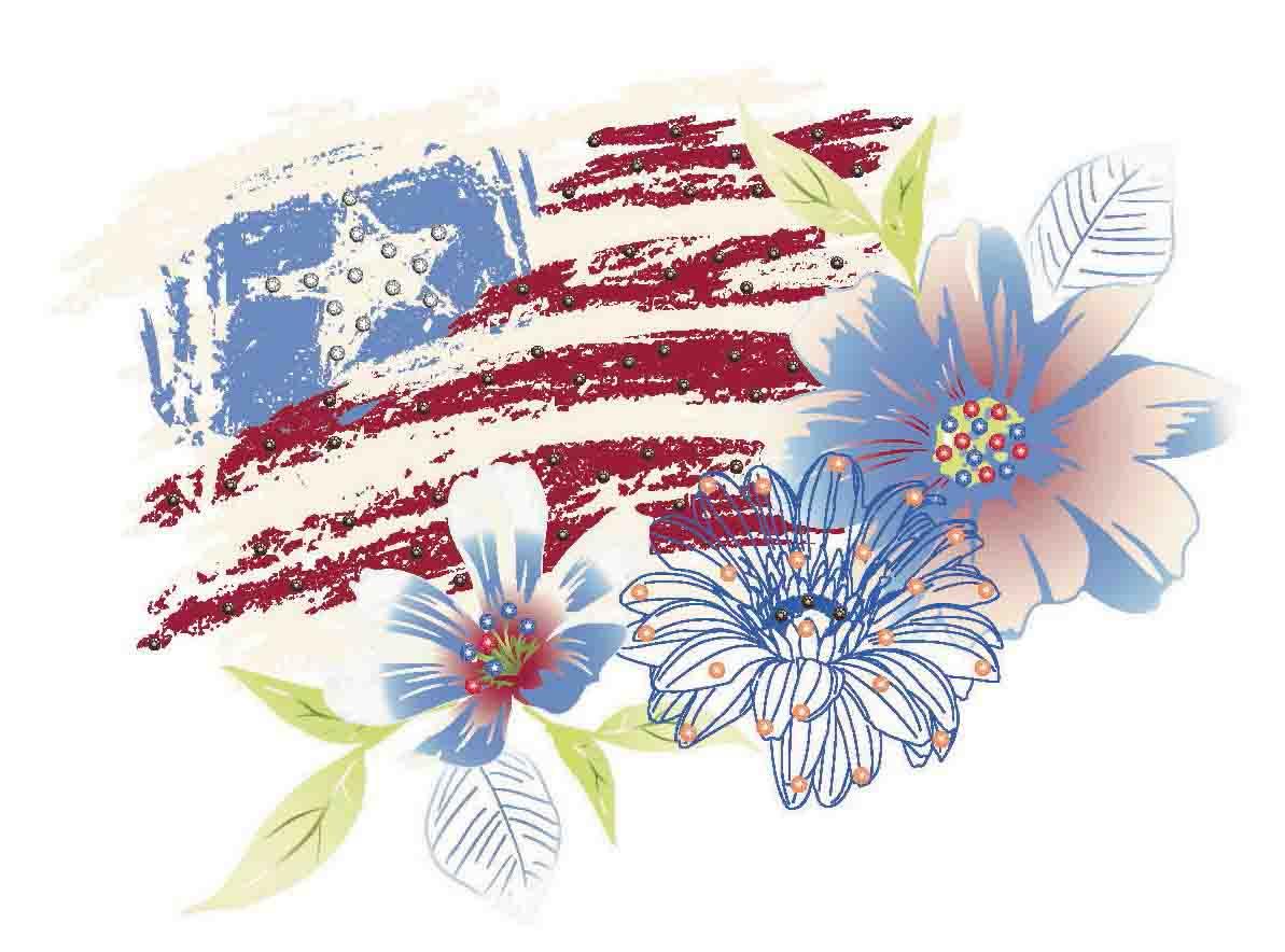 vintage flag & floral 2