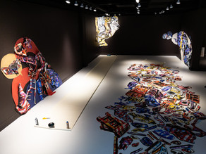 In the middle of installation of the artwork.