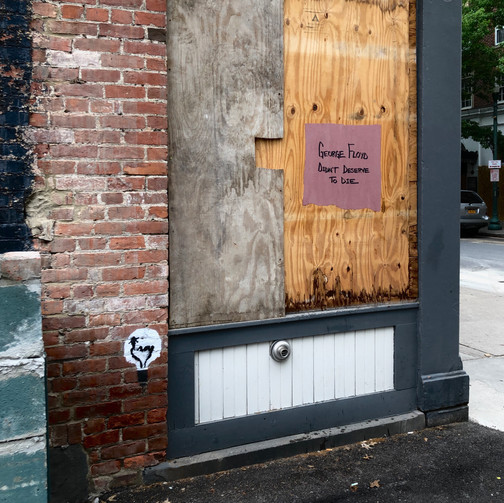 The Side of a Building has Been Painted with the Words 'George Floyd didn't deserve to die', Troy, New York