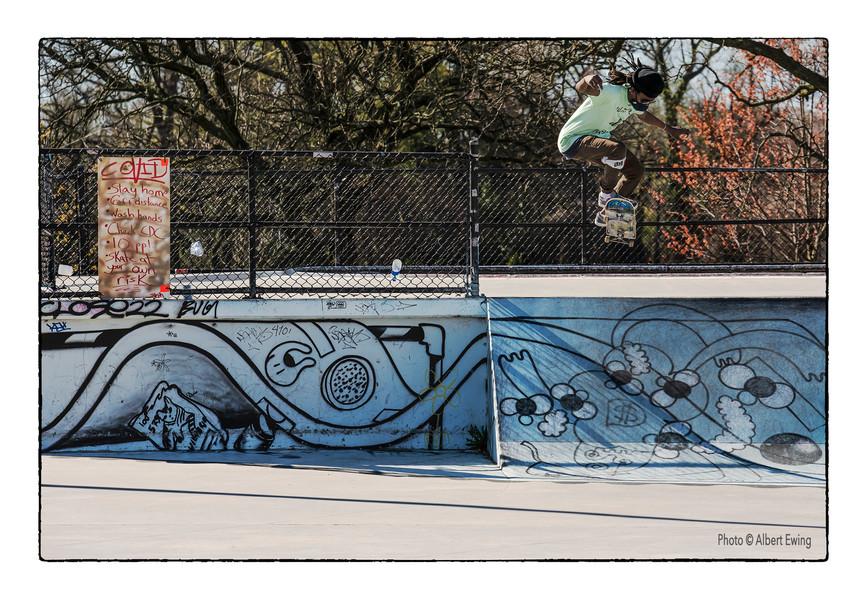 Skateboarder at Skate Park, Hampden: TJ Skating