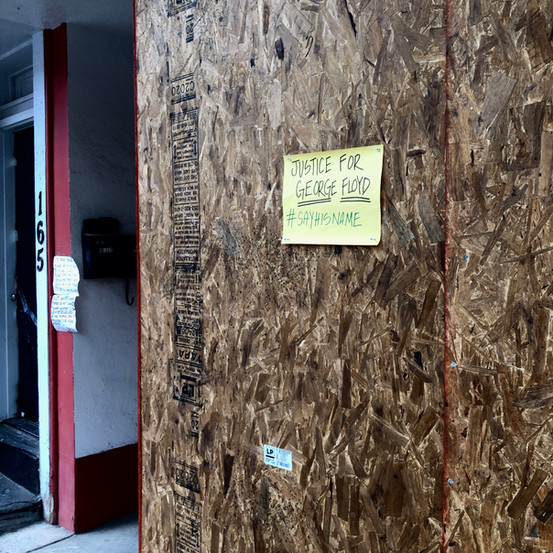 A Merchant has Attached a 'Justice for George Floyd' Flyer on Their Boarded-Up Storefront, Troy, New York
