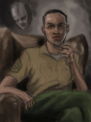 Digital Painting of military man entitled Personal Identity