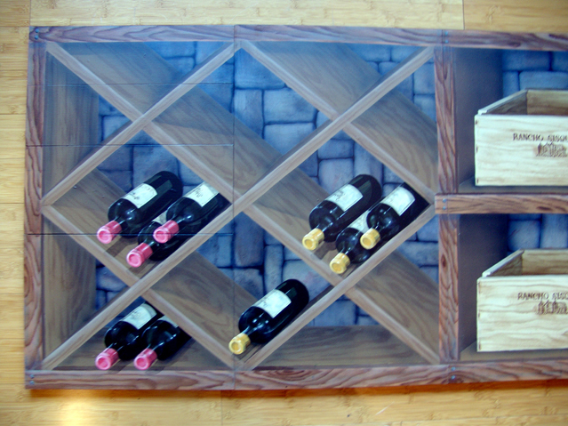 wine storage illusion on cabinets