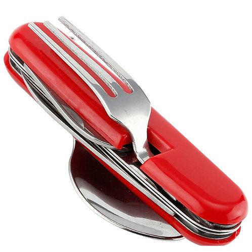 Набор складных столовых приборов 6 в 1 | красный