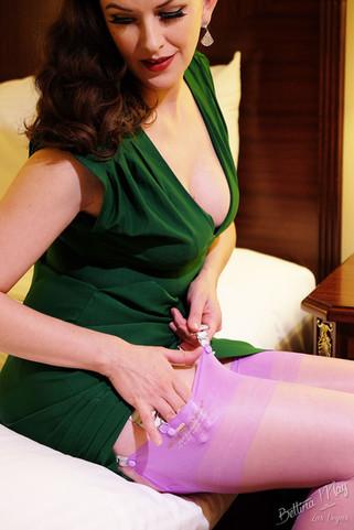 Bettina May in Purple Stockings