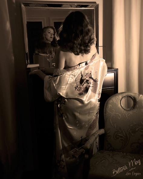Bettina May in Satin Kimono