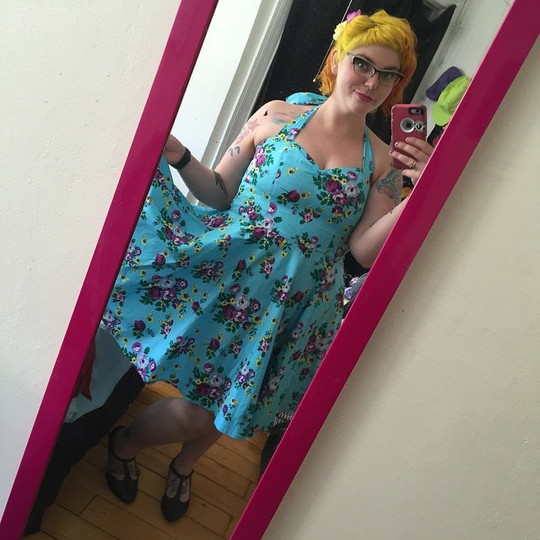 I love how Michelle updates a vintage-style dress with bright hair and fun haircut!