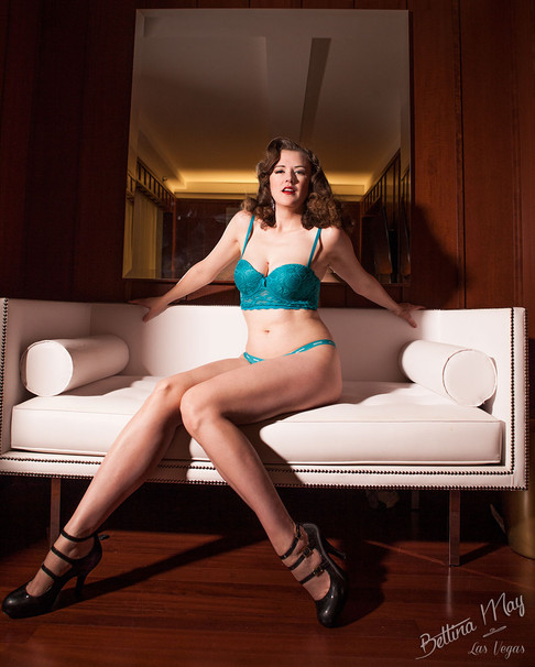Bettina May in Turquoise Lingerie
