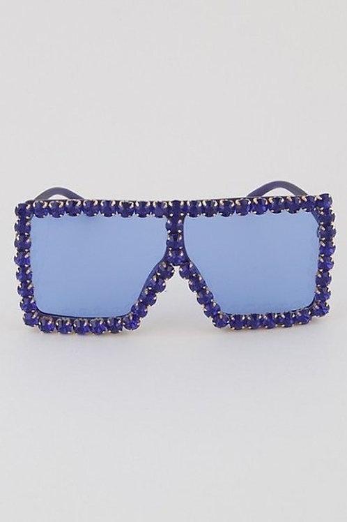 Beaded Rhinestone Shield Sunglasses