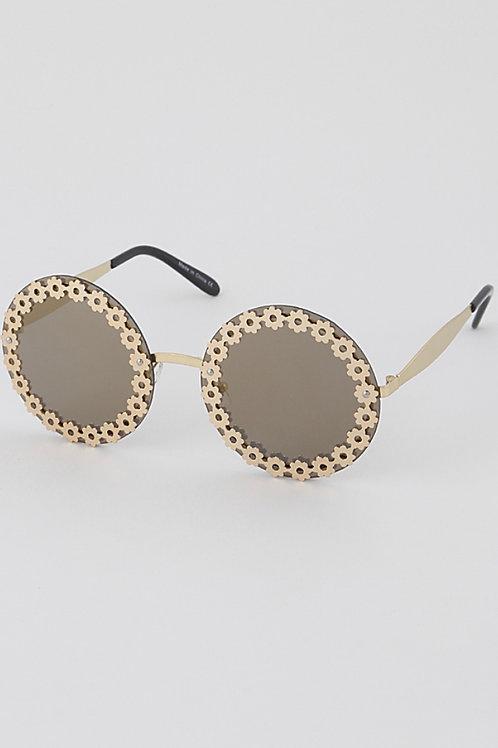 Flower Garland Round Sunglasses