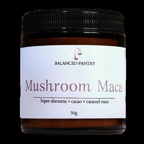 MUSHROOM MACA (super-shrooms, cacao + caramel maca)