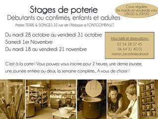 Stages de poterie / session Automne 2014
