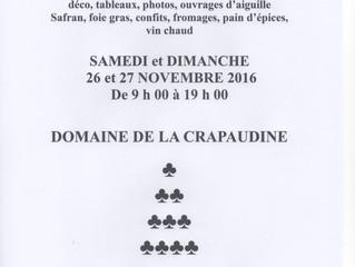 Marché de noël près de notre atelier/ La crapaudine_ Rosnay / 26 et 27 Novembre 2016
