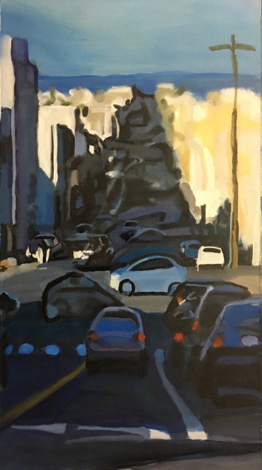 """""""Blue Streets, Bright City"""" 40x22in Oil/Canvas"""