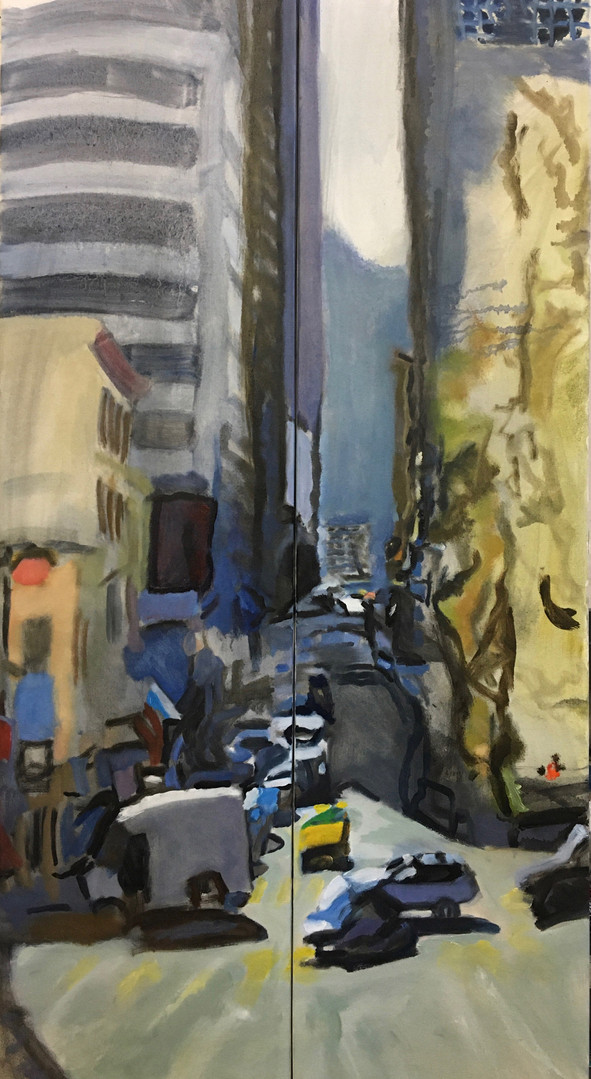 """""""City Canyon #13"""" Oil/ Canvas 48x24 in."""