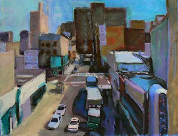 """""""Into The City #5"""" Mixed Media 20x24in."""