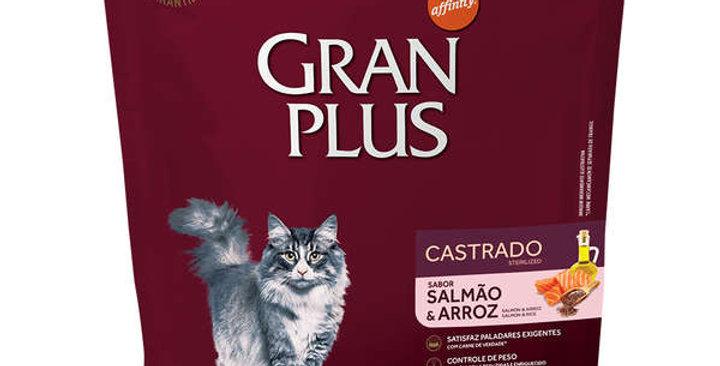 Ração Affinity PetCare GranPlus Salmão e Arroz para Gatos Castrados Adultos