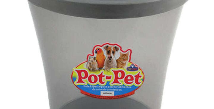Porta Ração Pot Pet Fumê de 10 L + Dosador