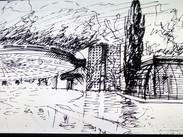 mario bellini architectural drawing of villa erba addition, 2018 design conference presentation~