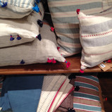 darling stripes/textures of toss pillows and linens~