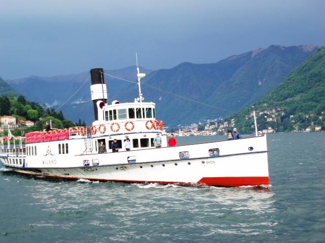 boats on lake como~
