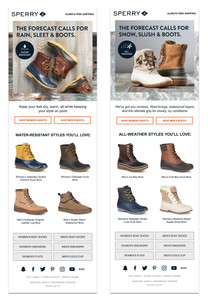 Sperry Rain & Snow Emails